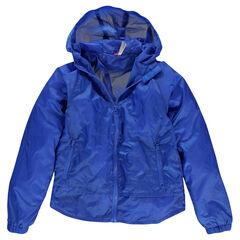 Junior - Coupe vent bleu à capuche