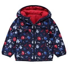 Effen windstopper met print van fleece met monsterprint