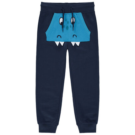 Pantalon de jogging à poche kangourou et détails brodés