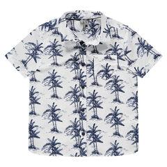 Hemd met korte mouwen en allover palmboomprint