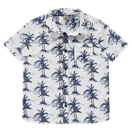 Chemise manches courtes avec palmiers printés all-over