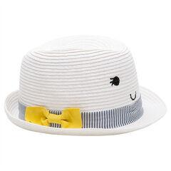 Chapeau effet paille avec galon à rayures et noeud jaune
