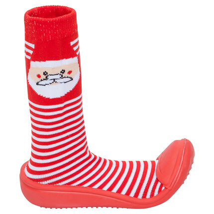 Chaussons chaussettes en tricot motif Père Noel