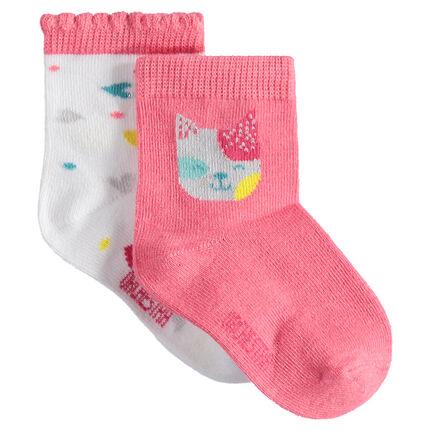 Set met 2 paar bijpassende sokken met kat en hartjes van jacquard