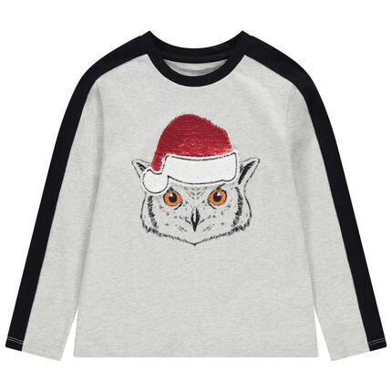 T-shirt manches longues avec hibou et sequins magiques esprit Noël