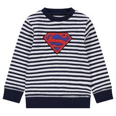 Sweat en tricot fantaisie avec rayures et logo ©Warner Superman en bouclette