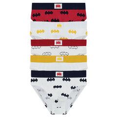 Lot de 5 slips en coton avec logo BATMAN all-over