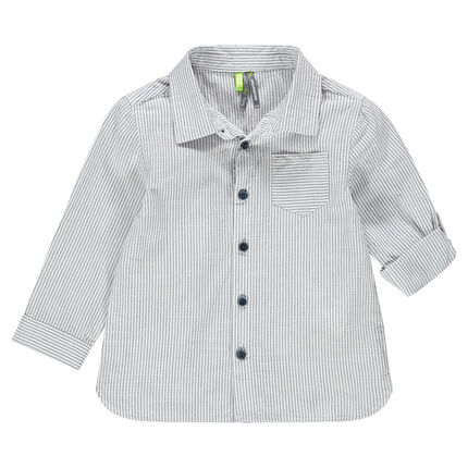 Chemise manches longues à fines rayures all-over