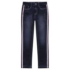 Junior - Jeans met used en crinkle effect en stroken aan de zijkanten