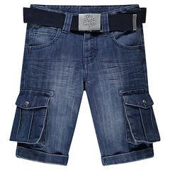 Jeansbermuda met used effect en met zakken en riem