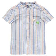 """Katoenen hemd met streepjes """"all-over"""" en met ©Smiley badges"""