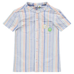 Chemise en coton à rayures all-over et badges ©Smiley