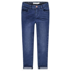 Slim-fit jeans met used en crinkle-effect