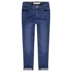 Slim-fit jeans met used en crinkle-effect