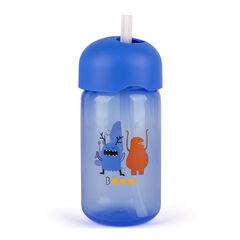 Drinkbeker met rietje 270 ml - Blauw