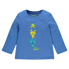 Tee-shirt manches longues en jersey avec animaux fantaisie printés