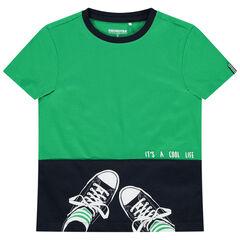 T-shirt manches courtes bicolore à baskets printées