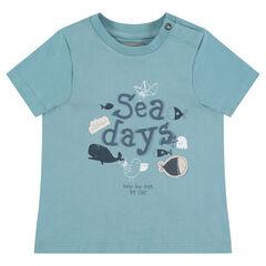 T-shirt met korte mouwen uit jerseystof met boodschap met reliëf