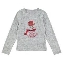 Junior - Kerst-T-shirt met lange mouwen met opgestikte en geborduurde sneeuwman