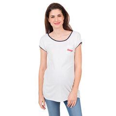 T-shirt met korte mouwen, zakje en geborduurd opschrift