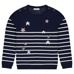 Junior - Trui van tricot in marinestijl met goudkleurige sterren
