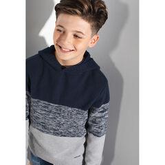 Junior - Pull à capuche en tricot tricolore