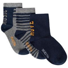 Set van 3 paren gesorteerde effen / gestreepte sokken