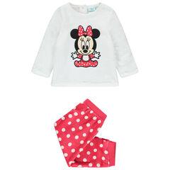 Pyjama en velours broderie Minnie Disney à pois
