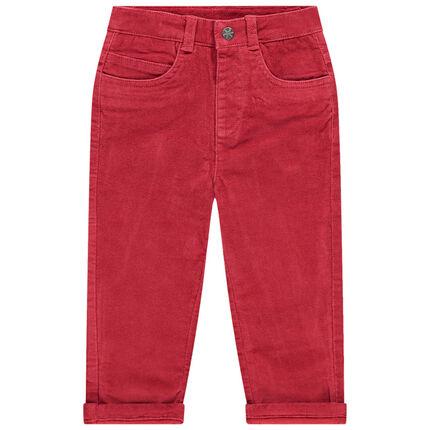 Pantalon rouge en velours ras doublé jersey