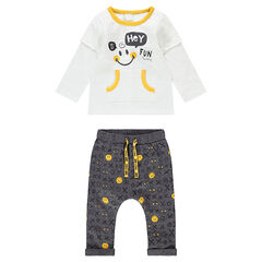 "Ensemble met T-shirt met effect 2-in-1, met broek van jerseystof en print ©Smiley ""all-over"""