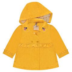 Gele trenchcoat met pailletjes en rond kraagje