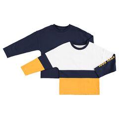 Set met 2 T-shirts met lange mouwen effen / met contrasterende banden