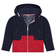 Junior - Vest van molton in twee kleuren met decoratieve bies en kap met print