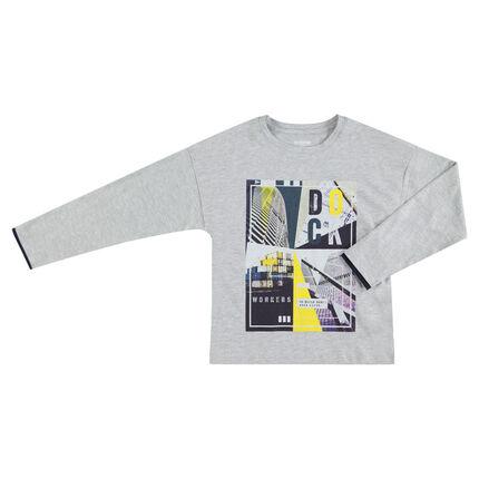 Junior - T-shirt met lange mouwen van jerseystof met print met gekleurd motief