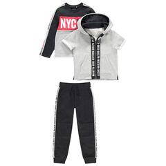 Jogging en molleton avec sweat, gilet manches courtes et pantalon à bandes