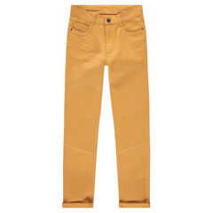 Pantalon slim en satin de coton moutarde