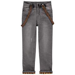 Jeans à bretelles effet crinkle