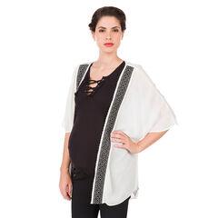 Zwangerschap kimono in effen crêpe met ikat motief
