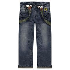 Jeans met used en crinkle effect en met verwijderbare bandjes met armymotief