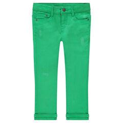 Pantalon en coton effet used uni vert