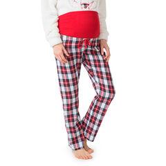 Pantalon homewear de grossesse à carreaux et bandeau haut