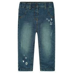 Jeans met used en crinkle effect en voering van microfleece met prints
