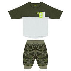 Ensemble avec tee-shirt bicolore forme boxy et bermuda army