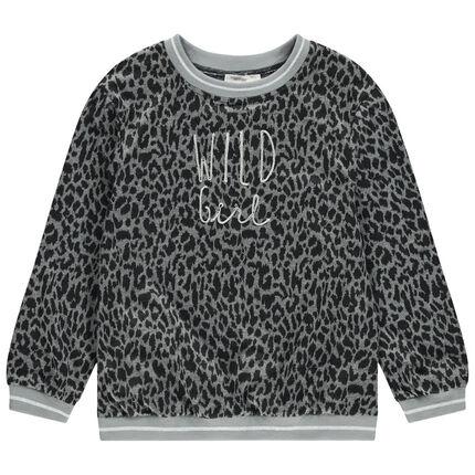 Junior - Pull en tricot motif léopard all-over et message brodé