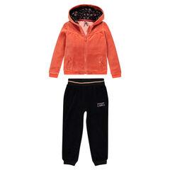 Jogging en velours bicolore