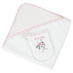 Set de bain cape/gant en coton éponge patch oiseau