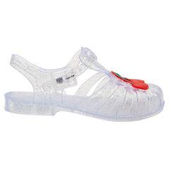 Chaussures de plage transparentes à paillettes avec cerise plastifiée du 24 au 29