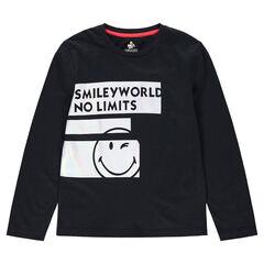 Junior - T-shirt met lange mouwen van jerseystof en stroken met ©Smiley prints