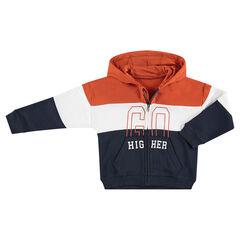 Vest met kap van molton in drie kleuren met print met tekst