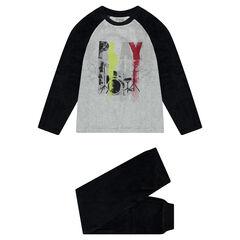 Junior - Tweekleurige fluwelen pyjama met print met sprayeffect